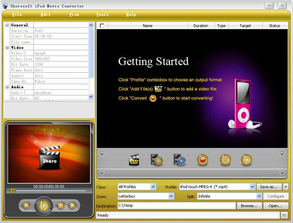iPod Movie Converter - Getting Started Screen